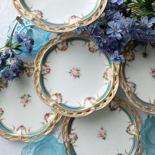 1800年代中期・ミントンブルーと金彩の華やかなネオクラシカルスタイルのデザートプレート(送料込)(A)