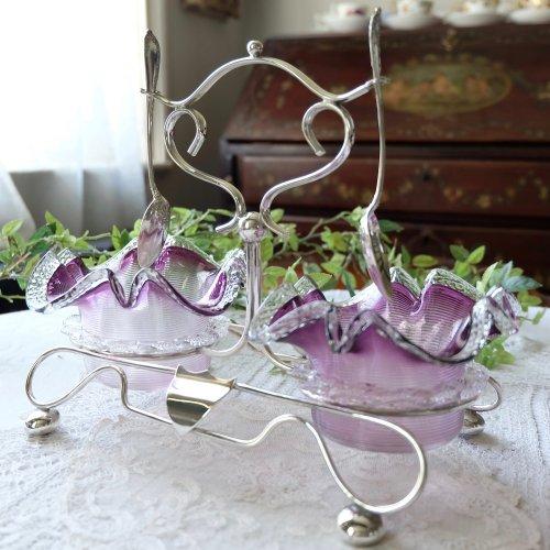 紫色のフリルガラスのダブルディッシュ・スプーン2本付き(送料込)