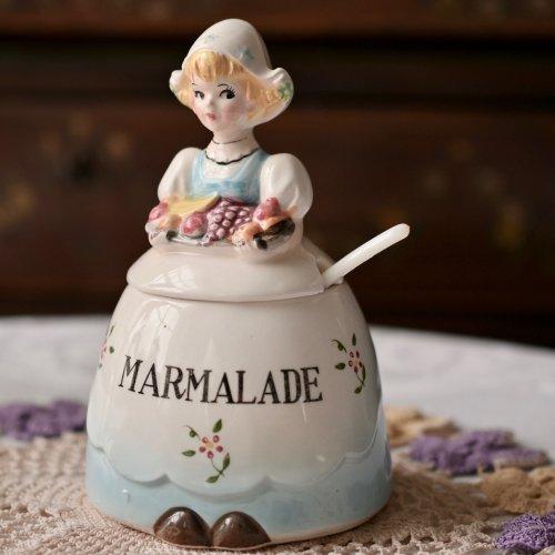 オランダ製・エプロン姿が可愛いドール型のビンテージマーマレードポット・女の子(送料込)