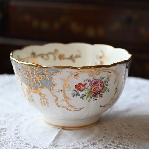 1850年・リッジウェイ グレーと金彩 フリルのようなリムが可愛い スロップボール(送料込)