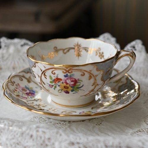 お買得品・1850年代・リッジウェイ グレーと金彩のアイビー柄 カップ&ソーサー(送料込)
