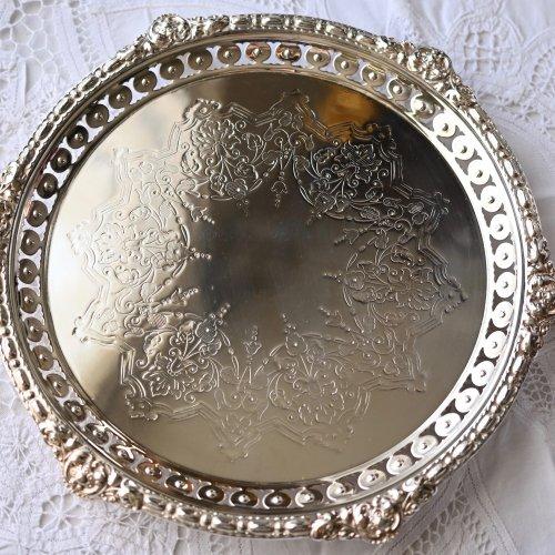 1870年代・きらきらビーズ飾りのような縁取りのシルバープレート製サルヴァ(送料込)