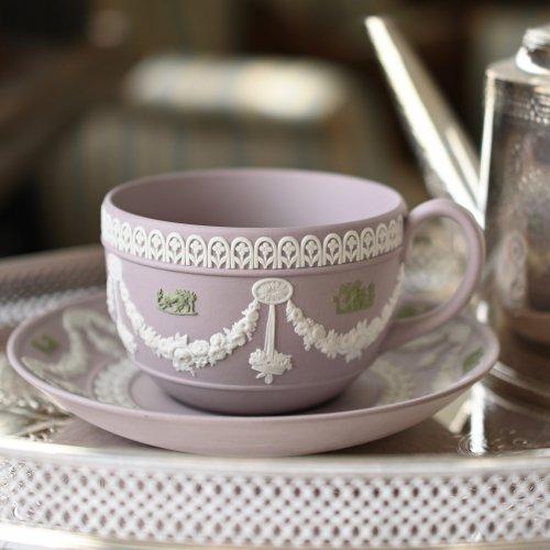 希少・ウェッジウッド ジャスパーウェア ライラックカラー のカップ&ソーサー(送料込)