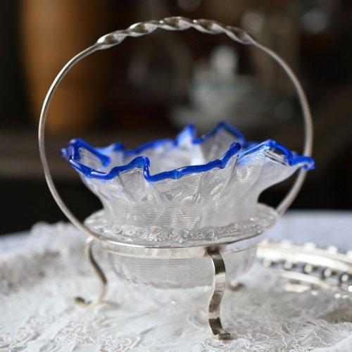 ヴィクトリア時代後期・クリアガラスと青い縁取りのジャムディッシュスタンド(送料込)