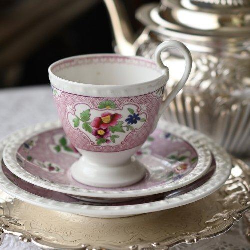 ヴィクトリア時代初期・リッジウェイ・ガドルーンの縁取りのコーヒーカップトリオ (送料込)