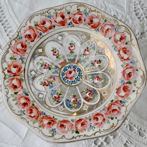 フランス製・ベルエポック期・エナメル彩飾のバラがいっぱいのガラスのコンポート(送料込)