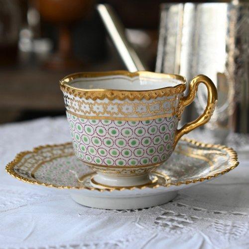 1820年・ウースター・フライト&バー期 金のビーズ装飾が眩いコーヒーデュオ(送料込)
