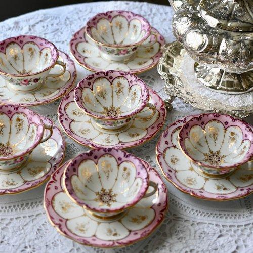 メーカー不明・フランス製・手描きのお花とピンク色とマルーン色の縁取りのカップ&ソーサー6客セット(送料込)