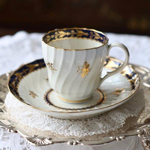 ウースター・デイビス&フライト期 鈴虫と植物柄のコーヒーカップ&ソーサー(送料込)