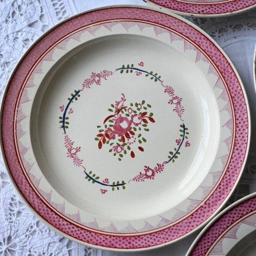 リバプール・18世紀のアンティーク・ピンクのお花柄のデザートプレート単品 3枚ございます。(送料込)