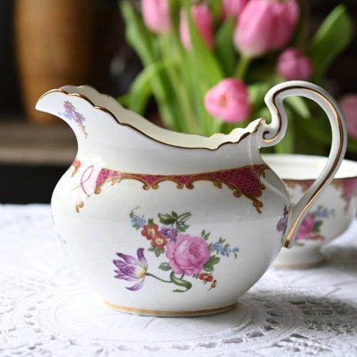エインズレイ ラズベリー色のボーダーと花柄が華やかなミルクジャグ(送料込)