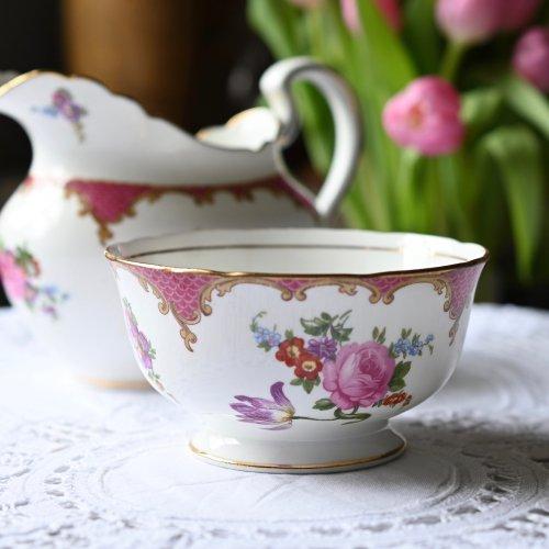 エインズレイ ラズベリー色のリムとお花柄が華やかなシュガーボウル(送料込)