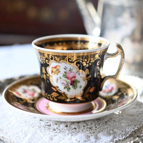 コールポート・ピンクのボーダーと手描きのバラ模様のコーヒーカップデュオ(送料込)