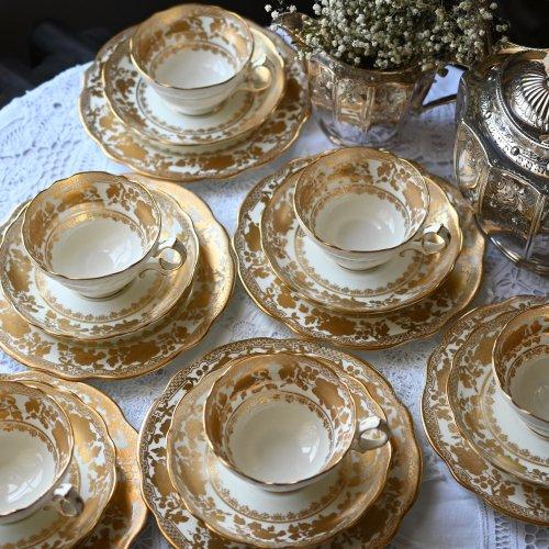 1910年代・ハマースレイ オリエンタルな金彩柄が煌めく ティーカップトリオ 6客セット(送料込)
