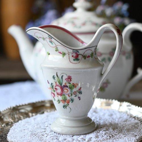1790年代・ニューホール 立ち姿の美しいブーケ柄ミルクジャグ(送料込)