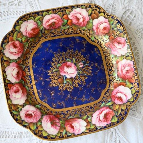 1820年・スポード 英国のバラとコバルト色のデザートプレート(送料込)