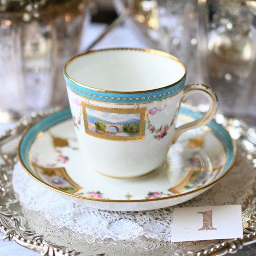1860年代・ミントン・アシッドゴールド盛金装飾と風景画が美しいデュオ 4客あります。(送料込)