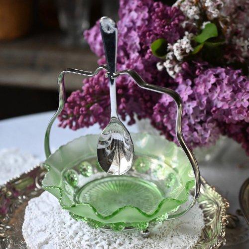 1930年代・フロストグリーンのグラスが可愛いジャムディッシュ スプーンつき(送料込)