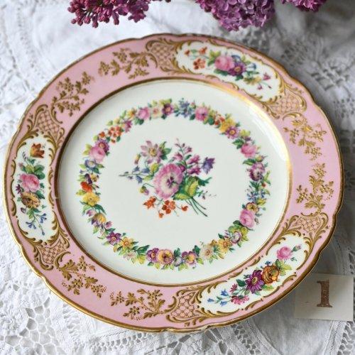 1870年代・フランス サムソン ロココピンクと金盛柄がゴージャスなセーブルスタイルのデザートプレート 4枚あります(送料込)