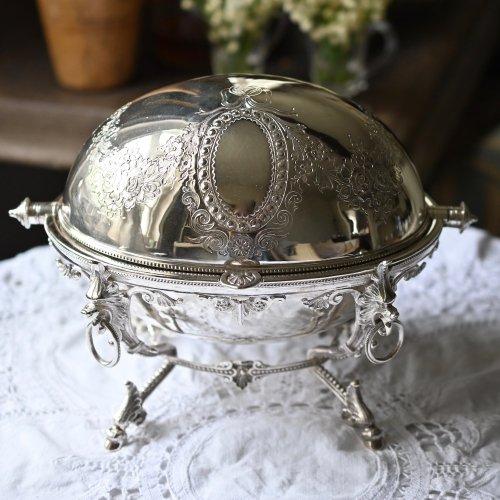 1870年・リボン模様・エッグドームシェイプのシルバープレート製ビスケットバレル(送料込)