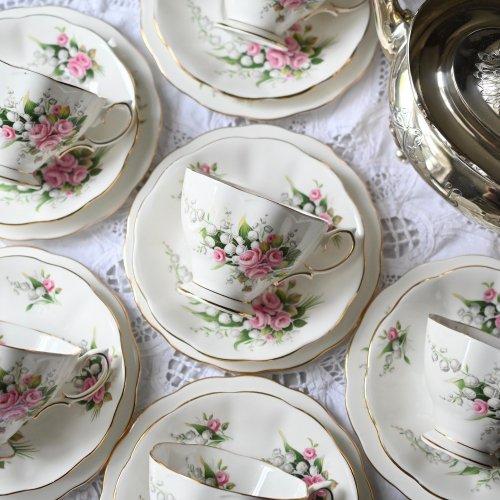 ロイヤルアルバート すずらんとピンクの薔薇のブーケ柄 ティーカップトリオ 6客セット(送料込)