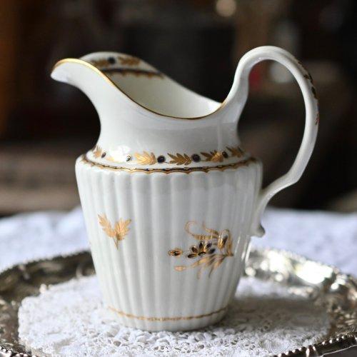 ウースター  クレッセントマーク ハーフリーデドシェイプ コバルト色の花柄ミルクジャグ (送料込)