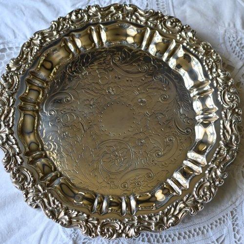 1830年代・葉柄がゴージャスなシルバープレート製サルヴァ(送料込)