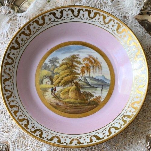 1810年代・ダービー ゴールド&ポンパドールピンクのボーダーと風景画が美しいデザートプレート(送料込)