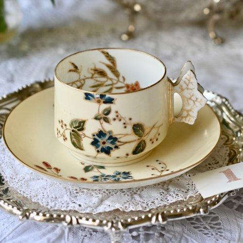 1868年・フランス リモージュ チャールズ フィールド アビランド バタフライハンドルのカップ&ソーサー デュオ 単品(送料込)
