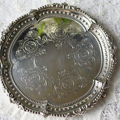 1890年代・マーティン&ホール スターリングシルバー製 クロウ&ボールフットの小さなカードトレイ(送料込)