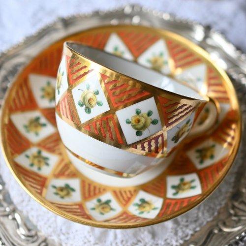 1800年代初期・スポード 格子柄の金彩とイエローローズが美しいカップ&ソーサー(送料込)