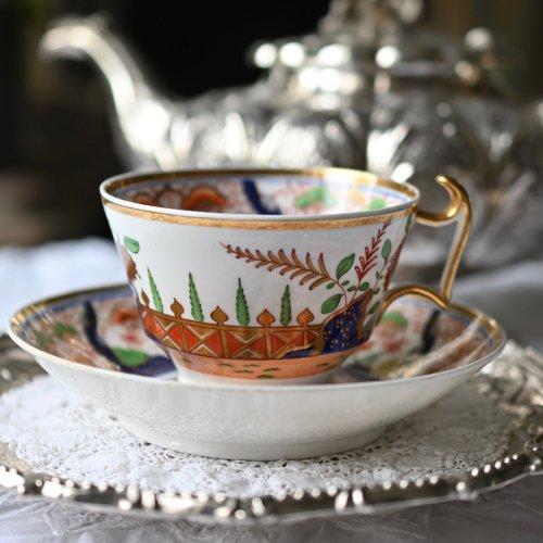 1810年代・スポード 伊万里風の色合いが鮮やかなカップ&ソーサー(送料込)