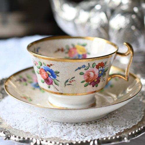 1810年代・スポード 金彩のドット柄と手描きの花模様の希少なデザイン カップ&ソーサーデュオ(送料込)