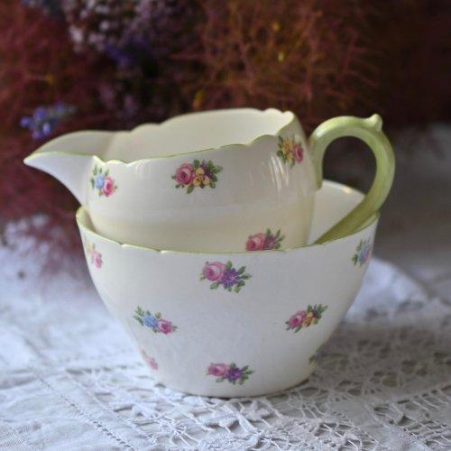 シェリー・アップルグリーンと小さなお花模様のミルクジャグ&シュガーボウルセット(送料込)