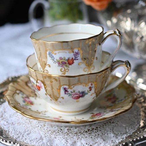 1850年代・リッジウェイ 亜麻色と金彩が美しいトゥルートリオ 単品(送料込)