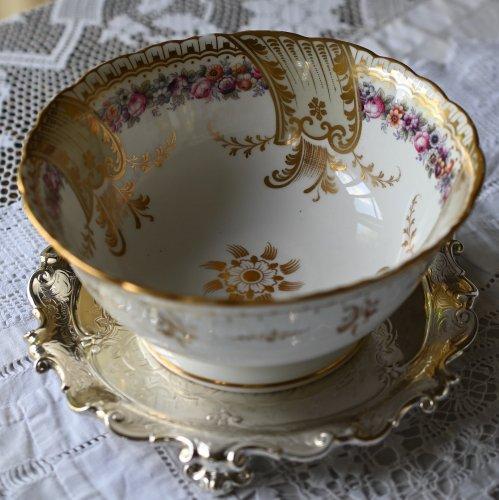 1850年代 リッジウェイ 色とりどりの花柄と金彩が美しい スロップボール(送料込)