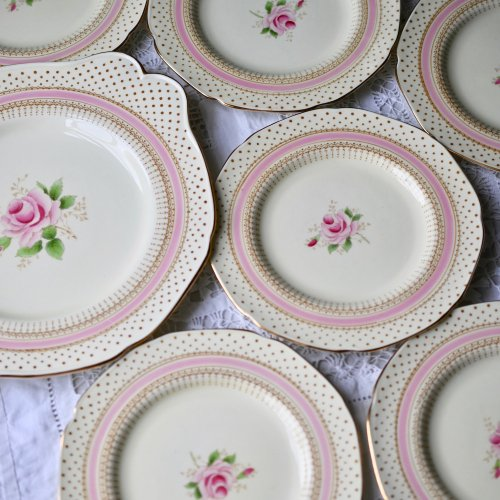 パラゴン・ドット柄とピンクのバラの花柄が可憐なサンドイッチプレート1枚とケーキプレート6枚セット(送料込)