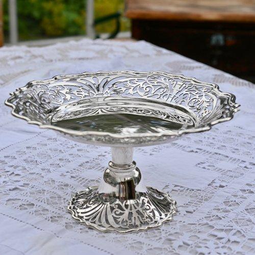 エドワード時代・洗練された透かし細工が素晴らしいスターリングシルバー製タッツア(送料込)