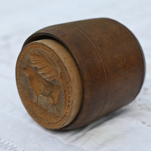 ヴィクトリア時代 手彫りのアンティークバタースタンプ 牛柄 木枠付き(送料込)
