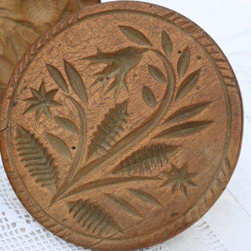 ヴィクトリア時代 手彫りのアンティークバタースタンプ お花柄(送料込)