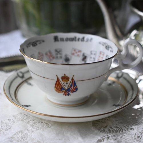 エインズレイ トランプ柄のフォーチューンテリングカップ ジョージ6世戴冠記念 (ミスマッチ品)(送料込)