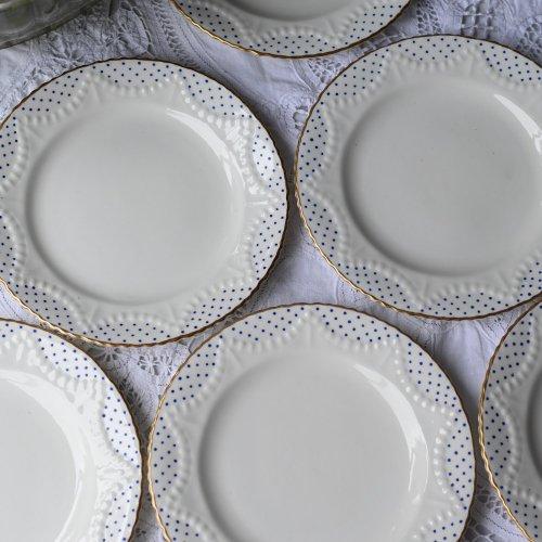 ヴィクトリアン チャールズフォード 白磁とロイヤルブルーのドット柄がフレッシュなケーキプレート6枚&サンドウィッチプレートセット(送料込)