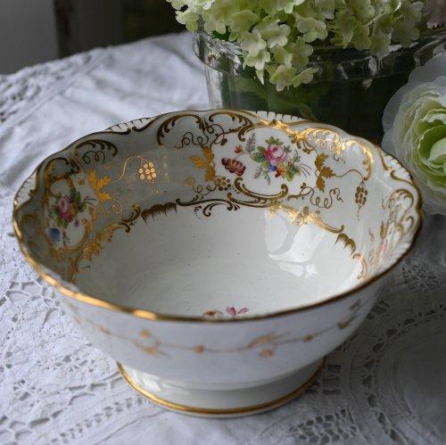 1830年代・コールポート・アデレードシェイプ・手描きのバラと鮮やかな花束が散りばめられたスロップボール(送料込)