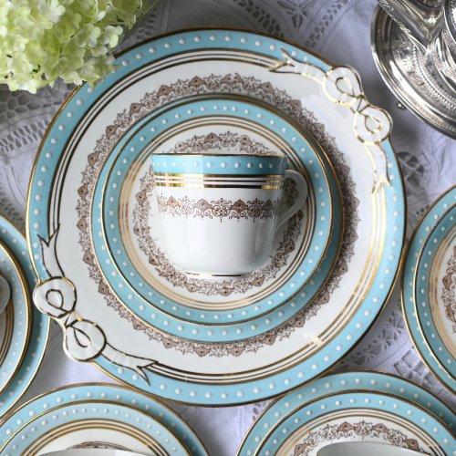 RGスクリブナー ティファニブルーとホワイトのビーディング装飾が爽やかなヴィクトリア時代のティーカップトリオ 20点セット(送料込)