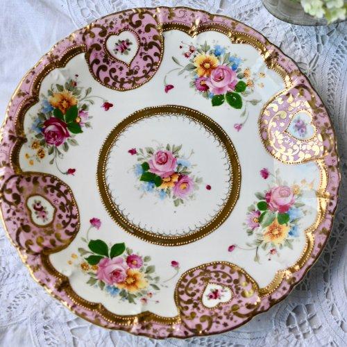ポンパドールピンクとハート模様の金彩柄が可愛らしいオールドノリタケ風 サンドイッチプレート(送料込)