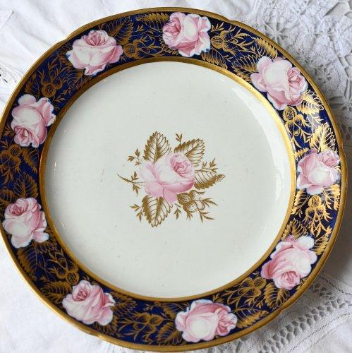 1790年代 ピンクのバラ・コバルトエッジと金彩が華やかな デザートプレート(送料込)