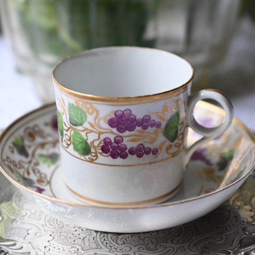 1790年代・ニューホール 手描きの葡萄柄と金彩のコーヒーカップ&ソーサー訳あり  (送料込)