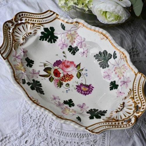 1830年代 コールポート 珍しい手描きのゼラニウムと花束のゴージャスなタッツア・訳あり(送料込)