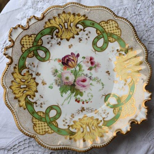 リッジウェイ・ヴィクトリア時代初期・金彩の点描と絵画のような手描きの花のサンドイッチプレート(送料込)