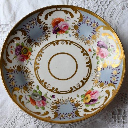 1820年代 コールポート ゴージャスな金彩・カラフルな手描きブーケとライラックカラーが映えるデザートプレート(送料込)